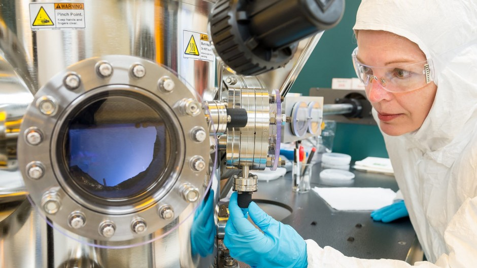 Researcher uses equipment at Argonne's Center for Nanoscale Materials.